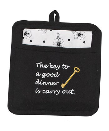 'Key to a Good Dinner' Pot Holder & Dish Towel