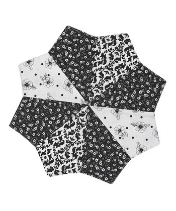 Black & White Key Round Place Mat - Set of Four