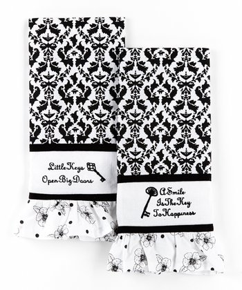 Black & White Key Hand Towel - Set of Two
