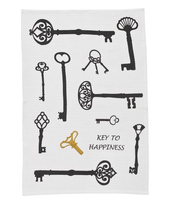 'Key to Happiness' Dish Towel