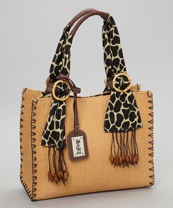 Sepia & Black Paper Straw Handbag