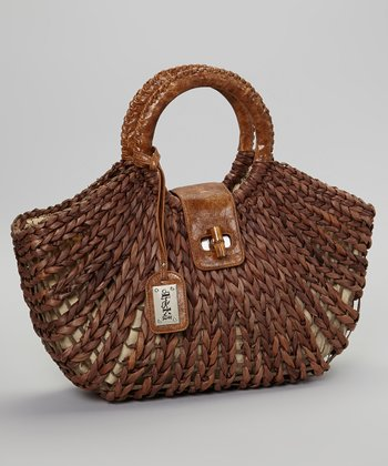 Brown Basket-Weave Handbag