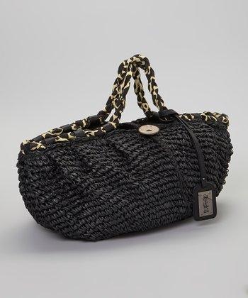 Blue Woven Straw Handbag