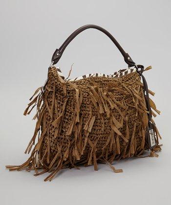 Light Brown Distressed Straw Handbag