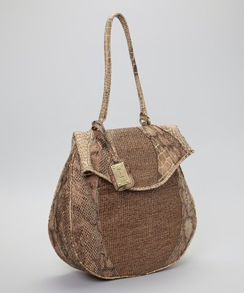 Brown & Rose Snakeskin Straw Handbag