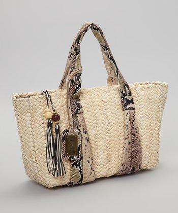 Sand & Black Snakeskin Handbag