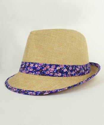 Tan & Purple Floral Fedora