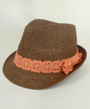 Brown & Coral Lace Fedora