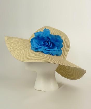 Tan & Blue Flower Sunhat