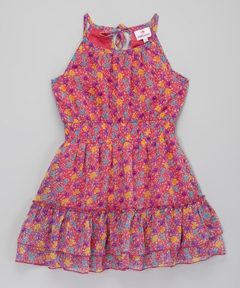 Pink Floral Chiffon Dress - Toddler & Girls
