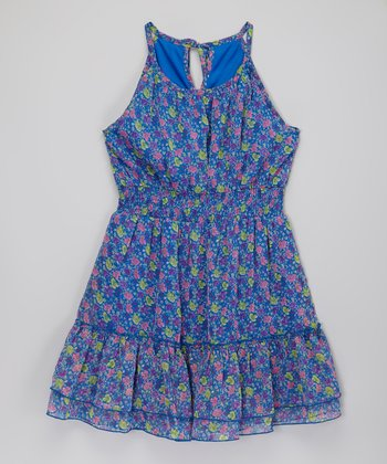 Blue Ruffle Chiffon Dress - Toddler & Girls