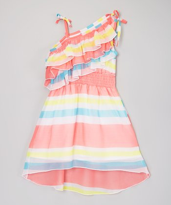Orange Stripe Chiffon Asymmetrical Dress - Toddler & Girls