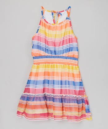 Orange Stripe Chiffon Ruffle Dress - Girls