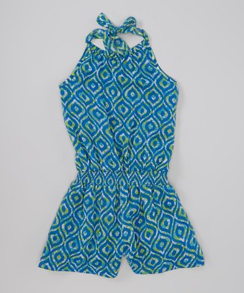 Blue Diamond Chiffon Halter Romper - Toddler & Girls