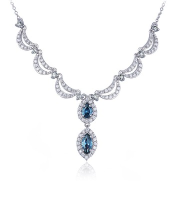 Sterling Silver London Blue White Topaz Pendant Necklace