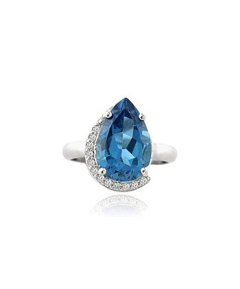 Silver London Blue Topaz and Cubic Zirconia Teardrop Ring