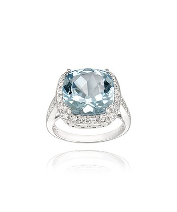 Silver Square Blue Topaz Cubic Zirconia Ring