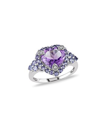 White Gold & Amethyst Tanzanite Prong Heart Ring