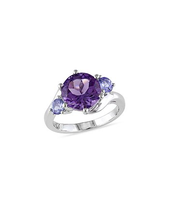 Silver & Amethyst Tanzanite Round Ring
