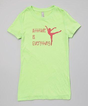Peanuts & Monkeys Neon Green 'Attitude is Everything' Tee - Girls