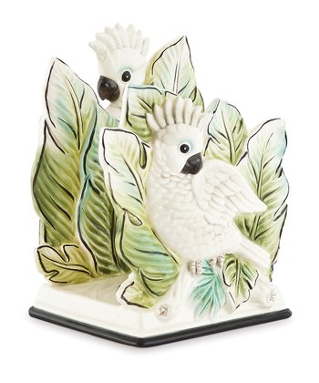 White & Green Cockatoo Napkin Holder