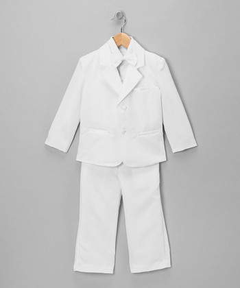 White Five-Piece Tuxedo Set - Infant, Toddler & Boys