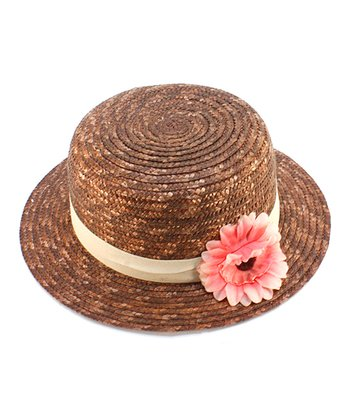 Brown & Pink Flower Woven Hat