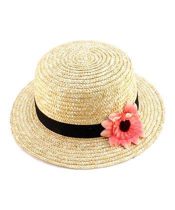 Beige & Pink Flower Woven Hat