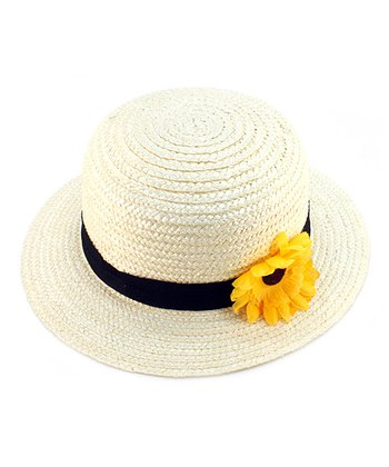 White & Yellow Flower Woven Hat
