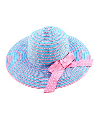 Periwinkle & Pink Stripe Bow Woven Hat