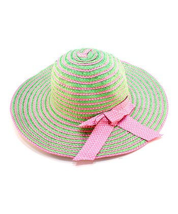 Green & Pink Stripe Bow Woven Hat