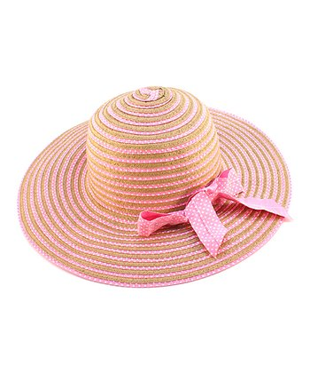 Pink Stripe Bow Woven Hat