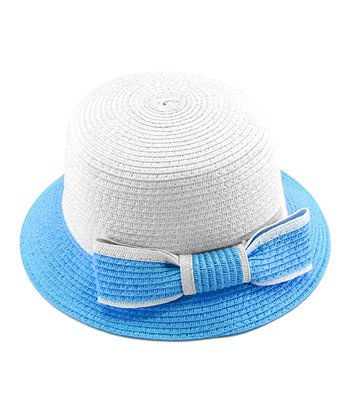 Blue Bow Woven Hat