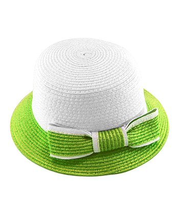 Green Bow Woven Hat