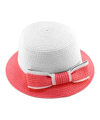 Pink Bow Woven Hat