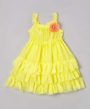 Paulinie Yellow Ruffle A-Line Dress - Toddler & Girls