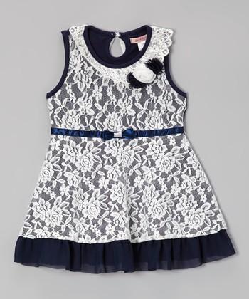 Paulinie Navy & White Lace Dress - Toddler & Girls