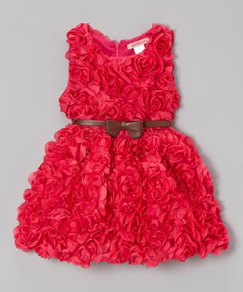 Paulinie Hot Pink Rosette Dress - Toddler & Girls
