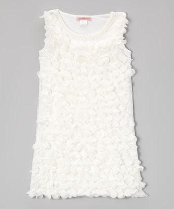 Paulinie White Petal Dress - Toddler & Girls