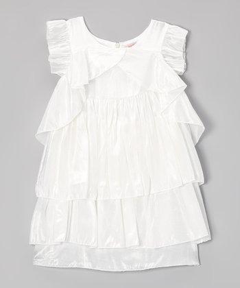 Paulinie White Tiered Angel-Sleeve Dress - Toddler & Girls