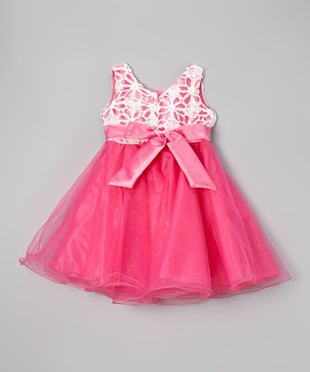Paulinie Hot Pink Bow A-Line Dress - Toddler & Girls