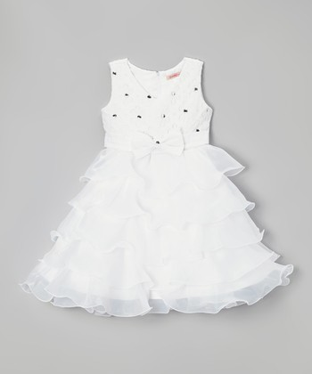 Paulinie White Floral Ruffle Dress - Toddler & Girls
