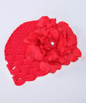 Red Scallop Crocheted Beanie