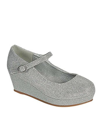 Silver Lovely Wedge Mary Jane