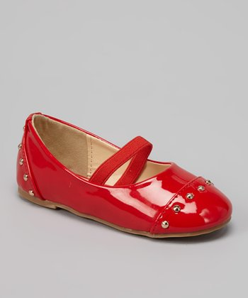 QQ Girl Red Patent Stud Strap Lovely Flat