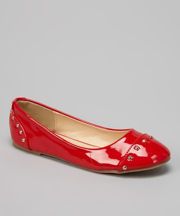QQ Girl Red Patent Stud Lovely Flat
