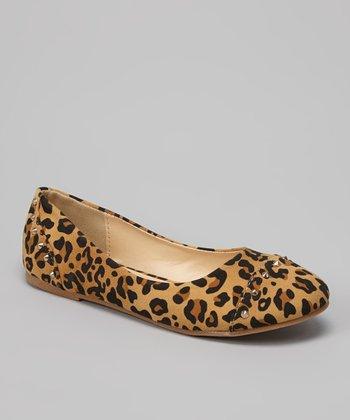 QQ Girl Leopard Patent Stud Lovely Flat