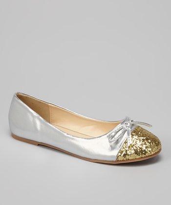 Silver Gold Toe Lovely Flat