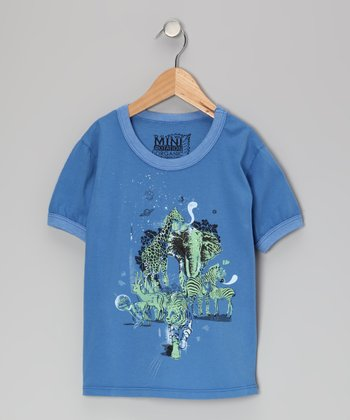 Royal Blue Animals in Space Organic Tee - Toddler & Kids