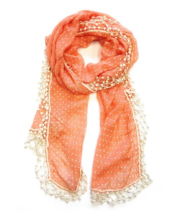 Orange Pin Dot Lace Scarf